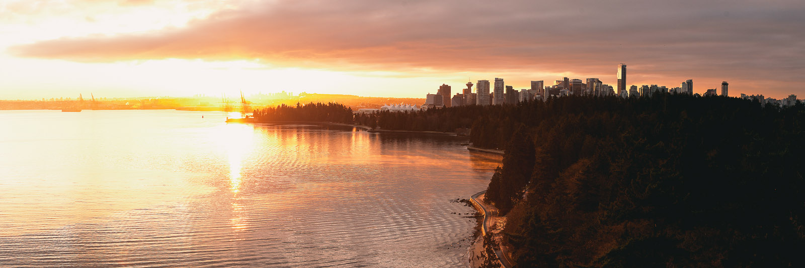 vancouver skyline sunrise panorama