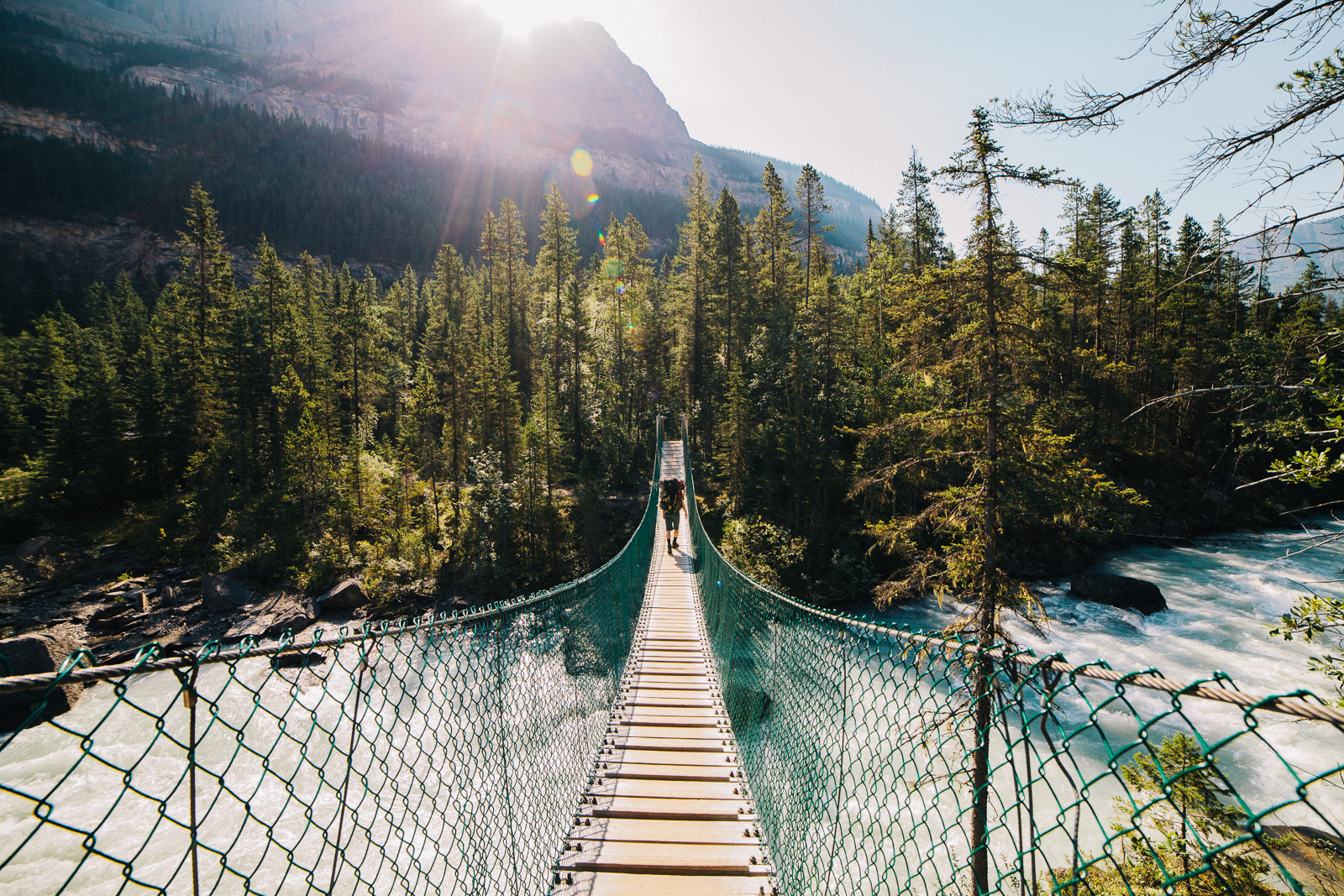 berg lake trail suspension bridge crossing river